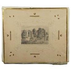 Antique Folio Album Pencil Drawing Covers Isle of White Note Paper Contents Circa 1840s