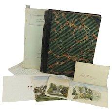Victorian English Album Watercolors Ephemera Kiddington Oxfordshire Interest Bellenger Family