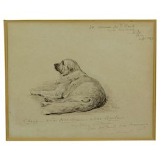 RARE Antique 19th century Pen and Ink Drawing by George Du Maurier, Circle of Lewis Caroll, Signed Dated 1877
