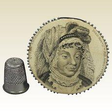 Antique Rarest Regency Pinwheel Pinkeep English Royal Silk Pincushion Dated 1818 Queen Charlotte, Provenance Maddock Family