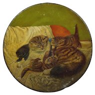 Antique Kittens Painting on Tole Circa 1880 Victorian
