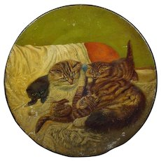 19th Century Cat Kitten Painting on Tole Circa 1880 Victorian