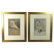 Antique Watercolor Pair of West Highland Terrier Dog Painting Signed Dated 1916