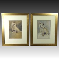 Antique Pair Dog Watercolor Portrait West Highland Terrier Signed Dated 1916
