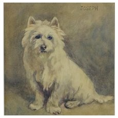 Antique Dog Watercolor Portrait West Highland Terrier named Joseph,  Signed Dated 1916
