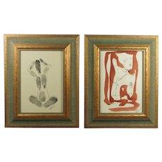 Hyman Segal Abstract Mixed Media Pair Circa 1960