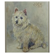 Watercolor Dog Portrait West Highland Terrier Signed Dated 1925 Marion W Lee