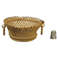 19th Century Miniature Wicker Basket Ring Handles Regency Circa 1820