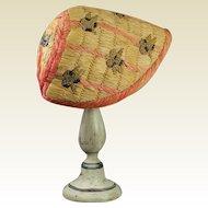 Antique French Straw Raffia Bonnet Beautiful Blackberry Fruit Design Paul Poiret Style Circa 1910