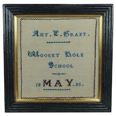 19th Century Miniature School Sampler English Village Wookey Hole 1885