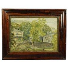19th Century English Rural Landscape Watercolor Lake District Folk Art 1883
