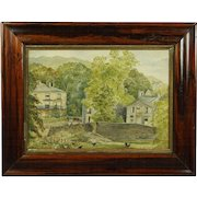 19th Century English Watercolor Lake District England Rural Scene Folk Art 1883