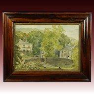 19th Century English Watercolor Painting  Landscape Lake District Folk Art 1883