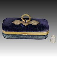 19th Century French Sewing Etui Purse Tatting Set Glove Box Necessaire Purple Velvet Circa 1870