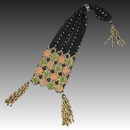 Antique French Empire Purse Black Silk Netting Gold and Steel Beaded Embroidery Circa 1815