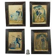 Antique Miniature Folk Art Nursery Print Set The Female Sailor Anne Jane Thornton Martime Mourning By John Fairburn
