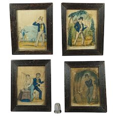 Antique Miniature Folk Art Nursery Print Set The Female Sailor Anne Jane Thornton Martime Mourning By John Fairburn