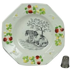 19th Century Pearlware Staffordshire Childs Plate Dog Springer Spaniel Circa 1830
