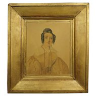 Antique French Watercolor Portrait Regency Lady 1835 Artist David Paul Brindeau
