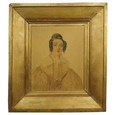 Antique French Watercolor Portrait Regency Lady 1835 Artist David Paul Brindeau