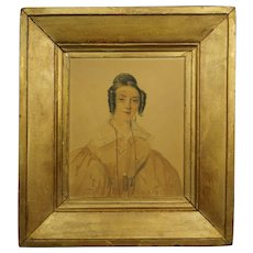 19th Century French Portrait Georgian Lady Dated 1835 by David Paul Brindeau