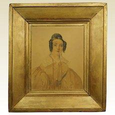 19th Century French Portrait Georgian Lady Dated 1835 by David Paul Brindeau