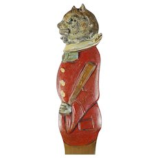 Large 19th Century Childs Cat Kitten Paper Knife Page Turner Victorian Carved Painted Treen Circa 1890