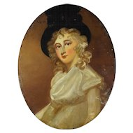 19th Century Oil On Board Portrait 1780s Lady Georgiana Cavendish, Duchess of Devonshire