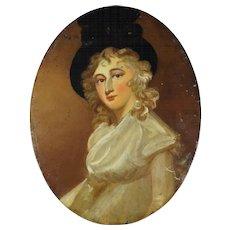 19th Century Oil On Board Portrait 1780s Lady Georgiana Cavendish, Duchess of Devonshire