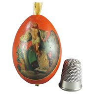 Late 19th Century Russian Easter Egg Hand Painted Lacquered Gilded The Ascension, Circa 1870s