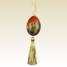 19th Century Luxury Russian Egg Christmas Tree Decoration Hand Painted The Ascension, Circa 1870s