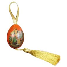 19th Century Russian Wooden Egg, Hand Painted The Ascension, Circa 1870s, Luxury Christmas Decoration