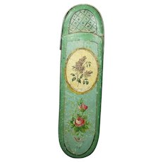 Antique French Pretty Pastels Spectacle Eyeglass Case Hand Painted Papier Mache Georgian Circa 1820