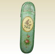Georgian French Spectacle Eyeglass Glasses Case Hand Painted Green Papier Mache  Circa 1820