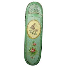 Circa 1820 French Spectacle Case Eyeglasses Case, Hand Painted Green Papier Mache Georgian