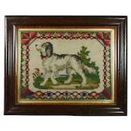 19th Century Victorian Dog Needlework Needlepoint Picture Great Folksy Look 1870s