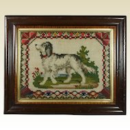 19th Century Victorian Dog Needlework Tapestry Needlepoint Picture Great Folksy Look 1870s
