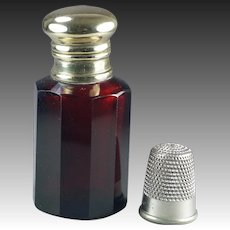 Antique Victorian Red Glass Scent Bottle Perfume Bottle Circa 1890