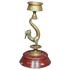 Antique French Watch Holder Cat Candlestick Glass Eyes Circa 1870