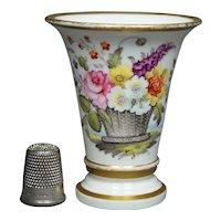RARE Swansea Porcelain Miniature Floral Spill Vase Floral Circa 1820