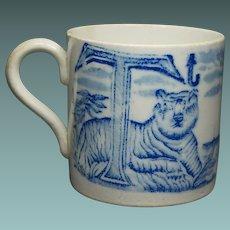 19th Century Childs Alphabet Mug Blue and White Transferware Tiger Ship Initials S T Circa 1830
