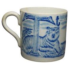 Antique Childs  Cup Alphabet Mug Blue and White Transferware Tiger Ship Circa 1830
