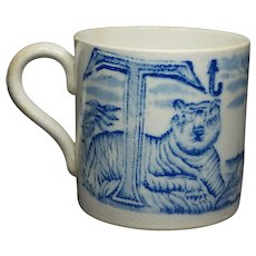 Antique Childs  Cup Alphabet Mug Blue and White Transferware Tiger Ship Circa 1830