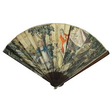 Antique Fan French 18th Century Eventail Dog Picnic Scene Stipple Engraving Georgian Circa 1795 Wood and Paper