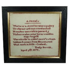 Antique 19th Century Miniature Verse Sampler Emily Porritt 1879 John Wilbye Poem A Jewel