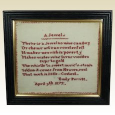 Antique 19th Century Miniature Verse Sampler Emily Porritt 1879 John Wilbye Poem A Jewel