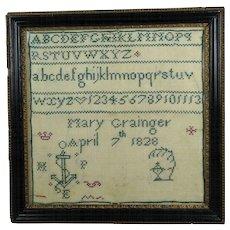 Antique 19th Century Miniature Georgian Mourning Sampler Mary Grainger 1828