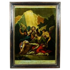 Early 19th Century Reverse Print On Glass Christ's Agony In The Garden Circa 1810