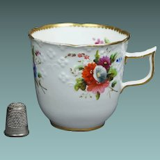 Early 19th Century Spode Tea Cup Embossed Porcelain Floral Regency Circa 1820