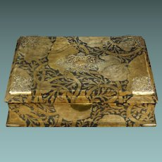 Antique French Art Nouveau Jewelry Box Original Voysey Style Velvet Fabric C 1890